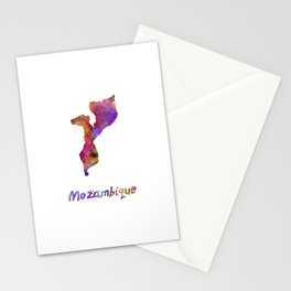 Mozambique in watercolor Stationery Cards