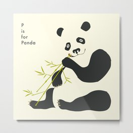P is for PANDA Metal Print
