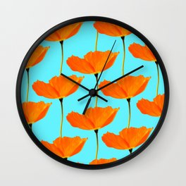 Poppies On A Turquoise Background #decor #society6 #buyart Wall Clock