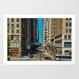 Cartoony Downtown Chicago Art Print