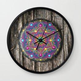 Beautiful hand painted Mandala stone on wood Wall Clock