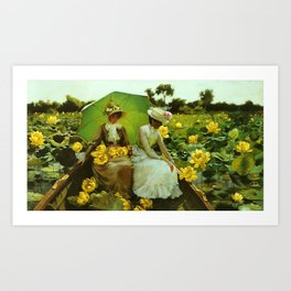 Spectacular 'Yellow Lotus Lilies' Floral Lily Pond portrait painting Charles Courtney Curran Art Print