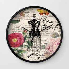 french country rose floral modern vintage dress mannequin paris fashion Wall Clock
