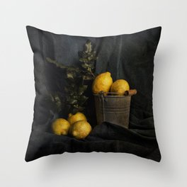 Cassic still life with lemons Throw Pillow