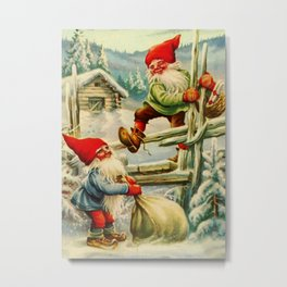 """""""Over the Wooden Fence"""" Gnomes by Jenny Nystrom Metal Print"""
