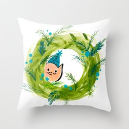 Kitty Christmas Wreath - Holiday Watercolor Throw Pillow