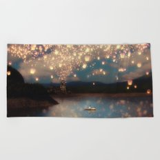 Love Wish Lanterns Beach Towel