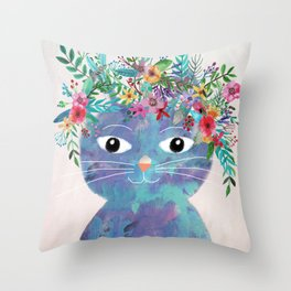 Flower cat II Throw Pillow