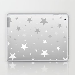 Scattered Stars Ombre Pale Silver Gray to White Laptop & iPad Skin