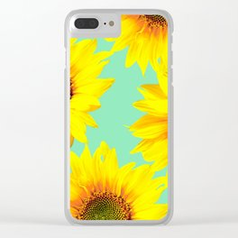 Sunflowers on a pastel green backgrond - #Society6 #buyart Clear iPhone Case