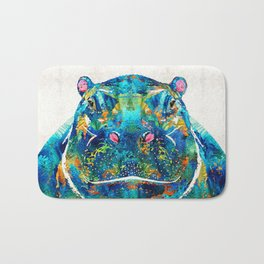 Hippopotamus Art - Happy Hippo - By Sharon Cummings Bath Mat