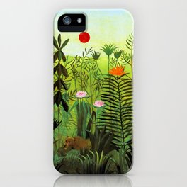 "Henri Rousseau ""Exotic Landscape with Lion and Lioness in Africa"", 1903-1910 iPhone Case"