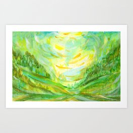 Summer background in green color Art Print