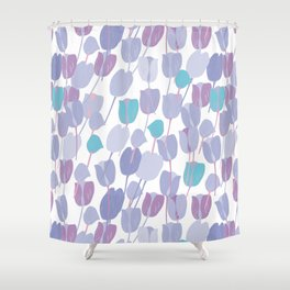 Bunch of blue and purple tulips Shower Curtain
