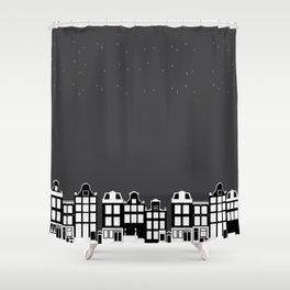 Black Silent Night Shower Curtain