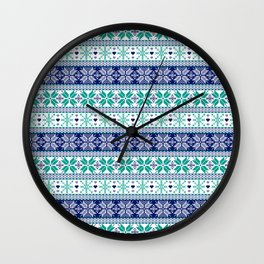 Blue & Turquoise Winter Fair Isle Pattern Wall Clock