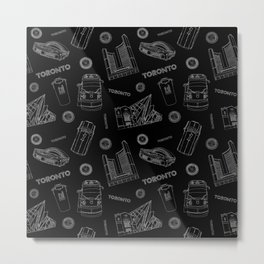 Toronto Life - White on Black Metal Print