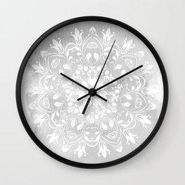 white on gray mandala design Wall Clock