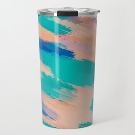 camouflage splash painting abstract in pink green and blue Travel Mug