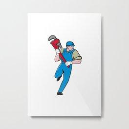 Plumber Running Monkey Wrench Cartoon Metal Print