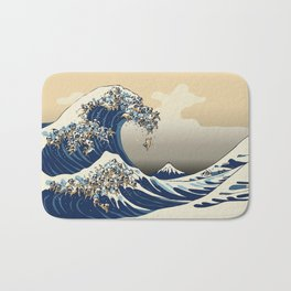 The Great Wave of Pugs Vanilla Sky Bath Mat
