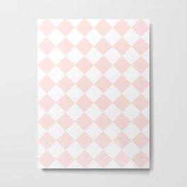 Large Diamonds - White and Pastel Pink Metal Print