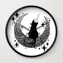 Mooncat (Black) Wall Clock