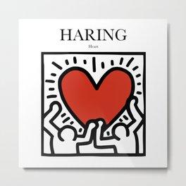 Haring - Heart Metal Print
