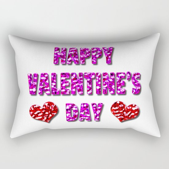 Happy Valentine's Day Metal Pink and Red Letters Rectangular Pillow