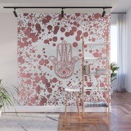 Chic elegant faux rose gold confetti hamsa hand of Fatima Wall Mural