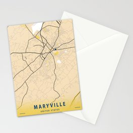 Maryville Yellow City Map Stationery Cards