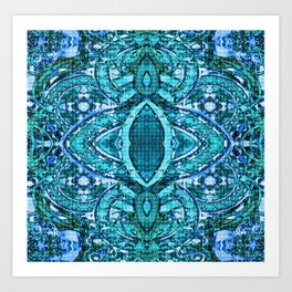 Boujee Boho Collection Turquoise Antiqued Tile Blues Art Print