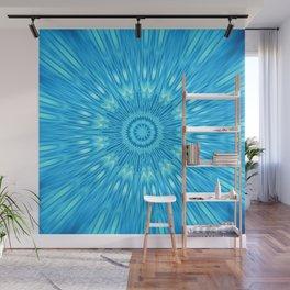 Blue Mandala Explosion Wall Mural