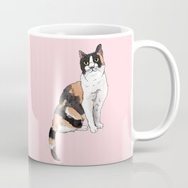 Cat Portrait Calico in Pink Coffee Mug