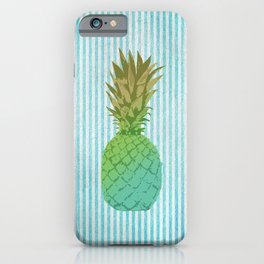 Gold and blue pineapple over blue strips iPhone Case