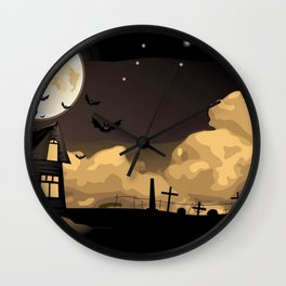 Creepy Castle By The Graveyard With Flying Witch Silhouette Ultra HD Wall Clock