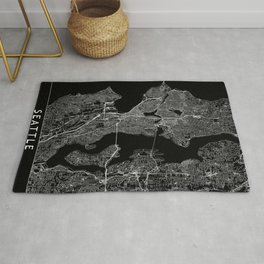 Seattle Black Map Rug