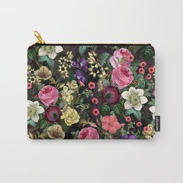 Vintage & Shabby Chic - Redouté Flower Bouquets on Black Carry-All Pouch