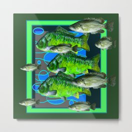 MODERN ART DECORATIVE GREEN FISH AQUATIC Metal Print