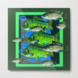 MODERN ART DECORATIVE GREEN FISH AQUATIC Metal Print