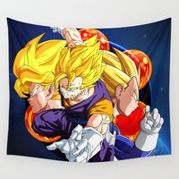 goku Wall Tapestries featuring DBZ - Goku, Vegeta and Vegeto by Mr. Stonebanks