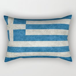 Greek flag in retro grunge Rectangular Pillow