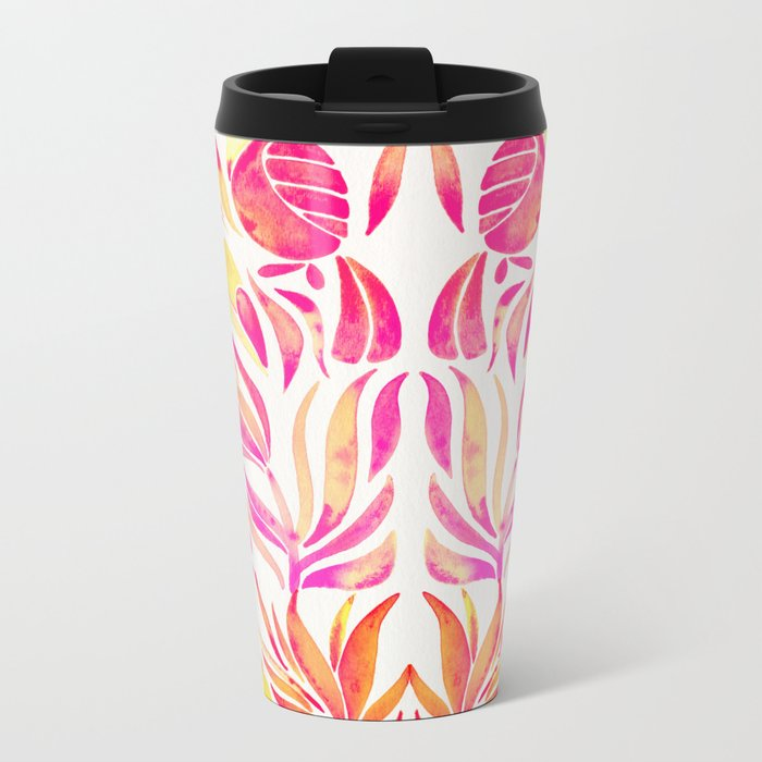 Tropical Toucans – Pink & Melon Ombré Metal Travel Mug