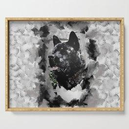 Akita Black Love Ink Portrait Serving Tray
