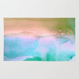Tie-Dye Abstract Watercolor Painting, Blues, Greens, Pinks Rug