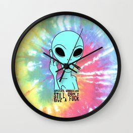 Alien Middle Finger Wall Clock