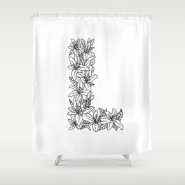 Floral Type - Letter L Shower Curtain