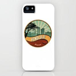 Honolulu City Skyline Design Hawaii Retro Vintage 80s iPhone Case