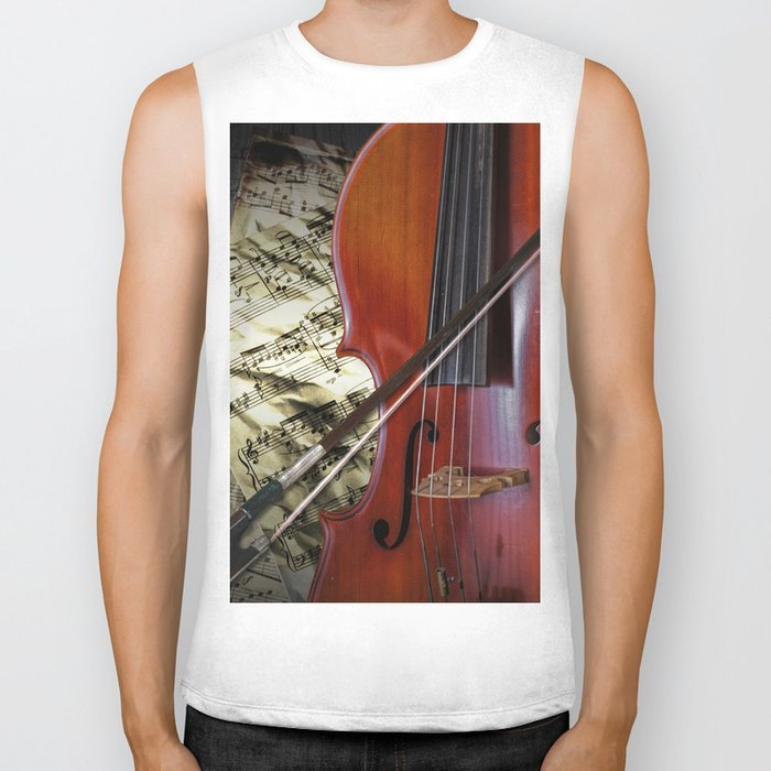 Cello with Bow a Stringed Instrument with Classical Sheet Music Biker Tank