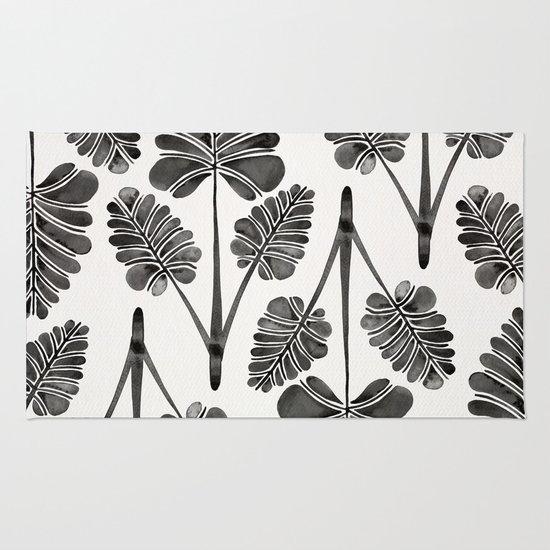 Tropical Palm Leaf Trifecta – Black Palette Rug